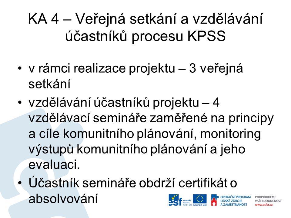 KA 4 – Veřejná setkání a vzdělávání účastníků procesu KPSS v rámci realizace projektu – 3 veřejná setkání vzdělávání účastníků projektu – 4 vzdělávací semináře zaměřené na principy a cíle komunitního plánování, monitoring výstupů komunitního plánování a jeho evaluaci.