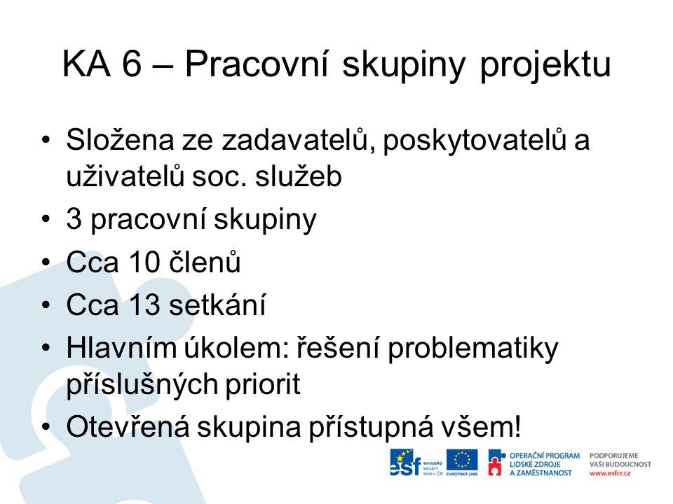 KA 6 – Pracovní skupiny projektu Složena ze zadavatelů, poskytovatelů a uživatelů soc.