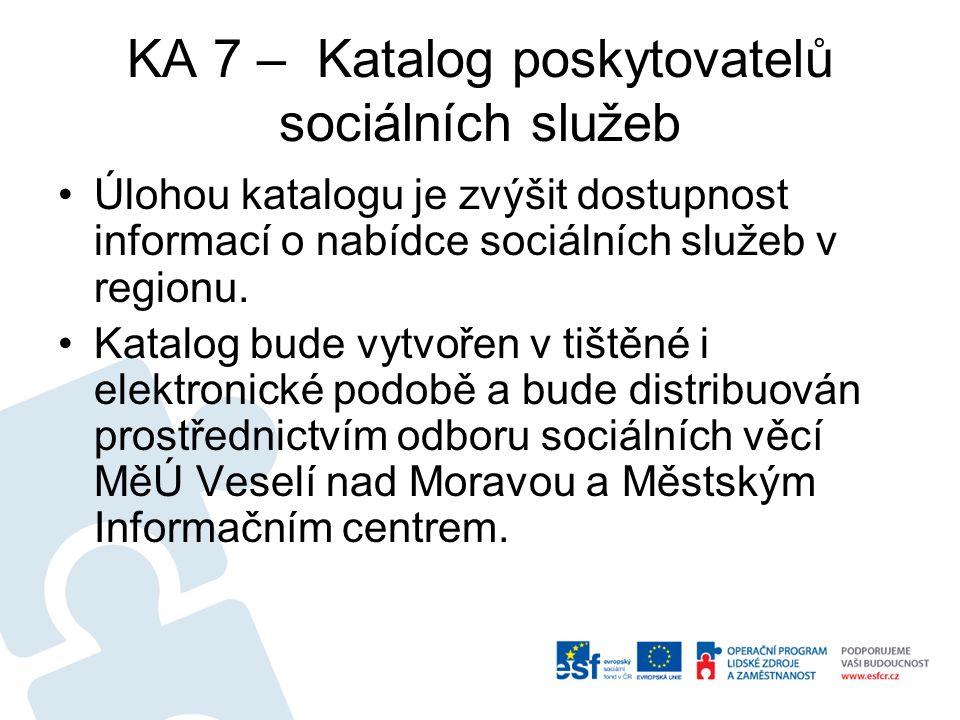 KA 7 – Katalog poskytovatelů sociálních služeb Úlohou katalogu je zvýšit dostupnost informací o nabídce sociálních služeb v regionu.