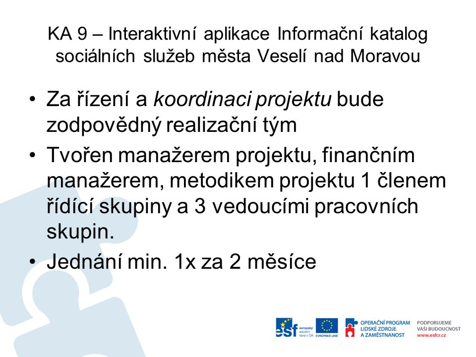 KA 9 – Interaktivní aplikace Informační katalog sociálních služeb města Veselí nad Moravou Za řízení a koordinaci projektu bude zodpovědný realizační tým Tvořen manažerem projektu, finančním manažerem, metodikem projektu 1 členem řídící skupiny a 3 vedoucími pracovních skupin.