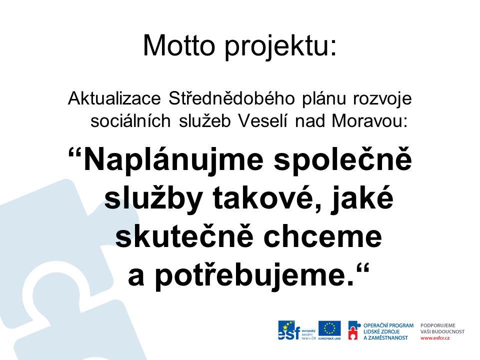 Motto projektu: Aktualizace Střednědobého plánu rozvoje sociálních služeb Veselí nad Moravou: Naplánujme společně služby takové, jaké skutečně chceme a potřebujeme.