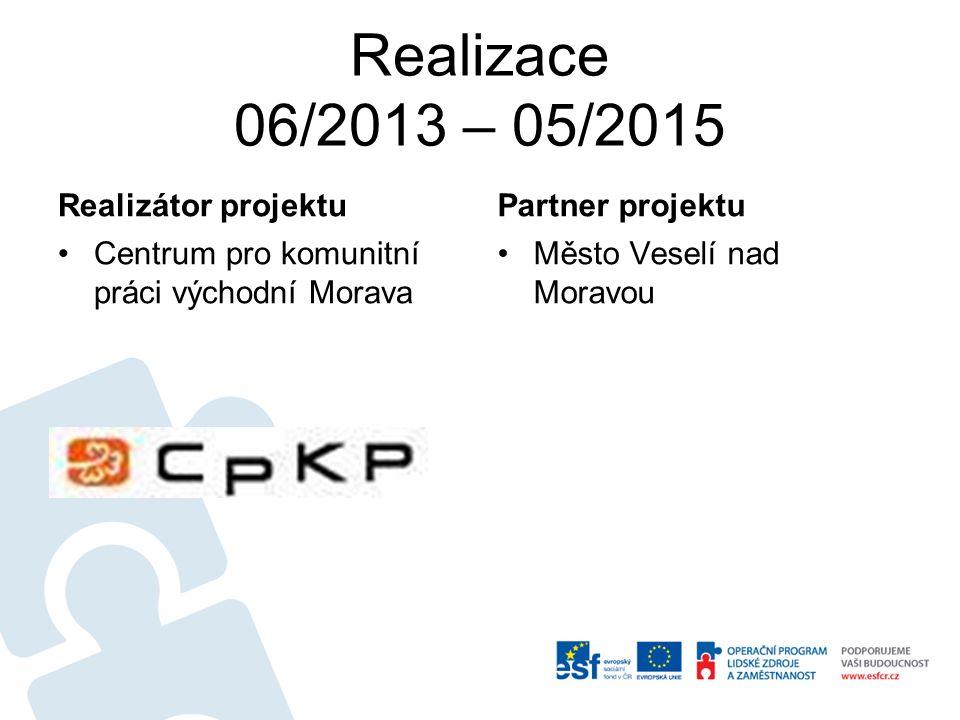 Realizace 06/2013 – 05/2015 Realizátor projektu Centrum pro komunitní práci východní Morava Partner projektu Město Veselí nad Moravou