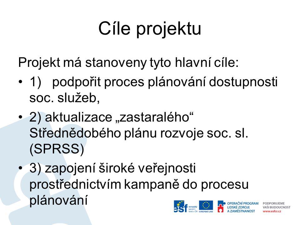 Cíle projektu Projekt má stanoveny tyto hlavní cíle: 1) podpořit proces plánování dostupnosti soc.