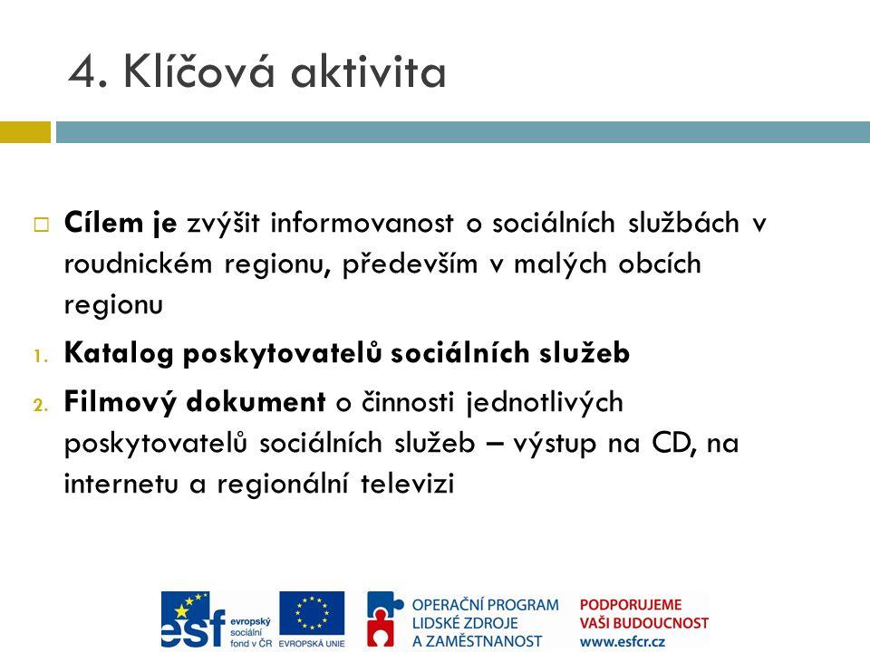 4. Klíčová aktivita  Cílem je zvýšit informovanost o sociálních službách v roudnickém regionu, především v malých obcích regionu 1. Katalog poskytova