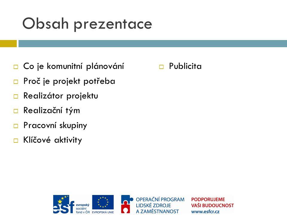 Obsah prezentace  Co je komunitní plánování  Proč je projekt potřeba  Realizátor projektu  Realizační tým  Pracovní skupiny  Klíčové aktivity  Publicita