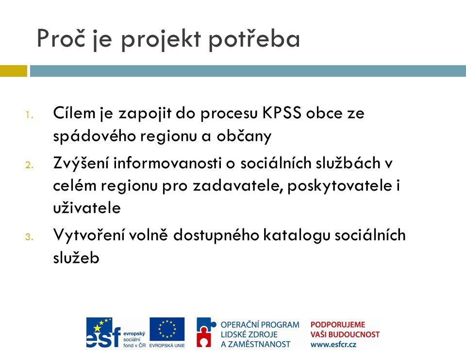 Proč je projekt potřeba 1. Cílem je zapojit do procesu KPSS obce ze spádového regionu a občany 2.
