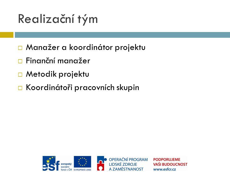 Realizační tým  Manažer a koordinátor projektu  Finanční manažer  Metodik projektu  Koordinátoři pracovních skupin