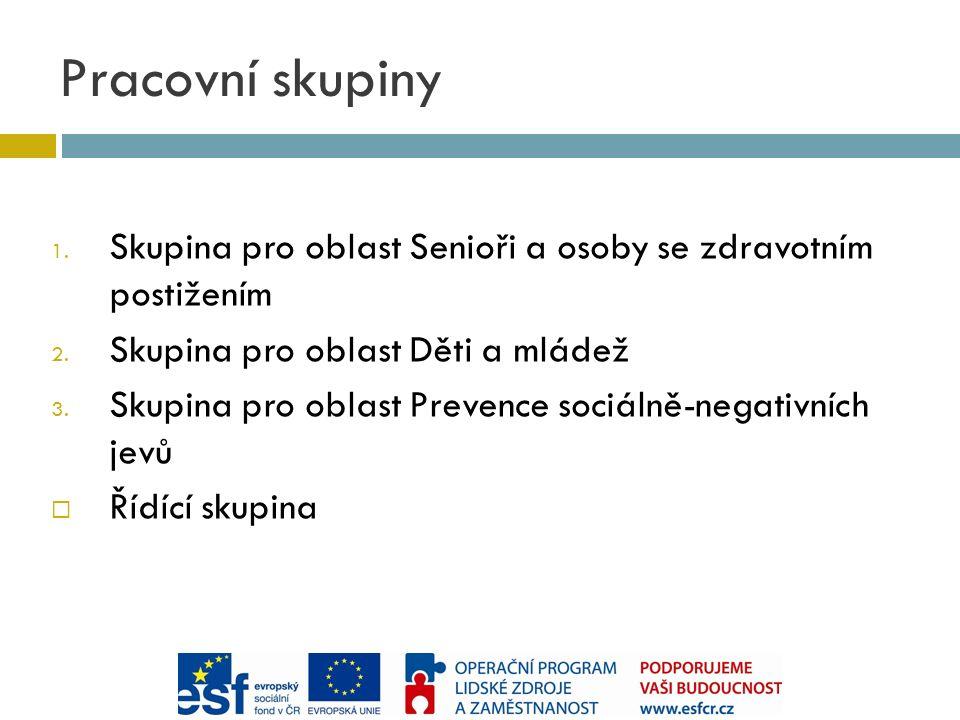 1. Skupina pro oblast Senioři a osoby se zdravotním postižením 2.