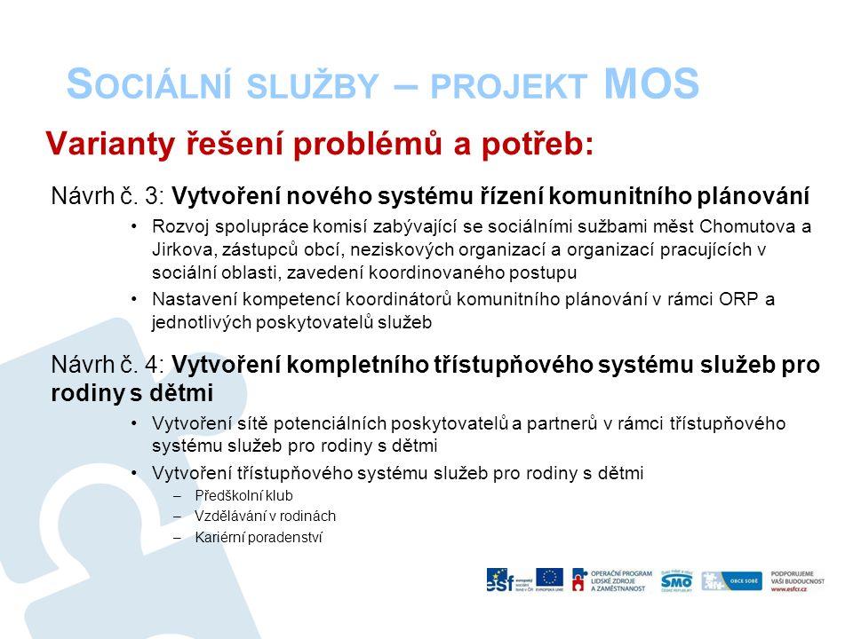 S OCIÁLNÍ SLUŽBY – PROJEKT MOS Varianty řešení problémů a potřeb: Návrh č.