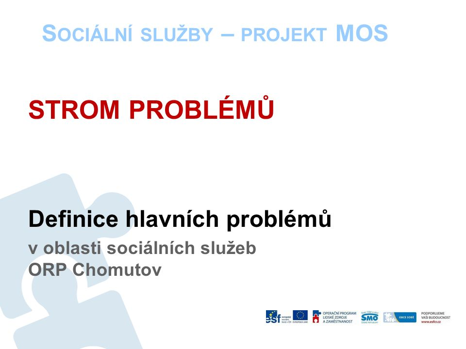 S OCIÁLNÍ SLUŽBY – PROJEKT MOS STROM PROBLÉMŮ Definice hlavních problémů v oblasti sociálních služeb ORP Chomutov