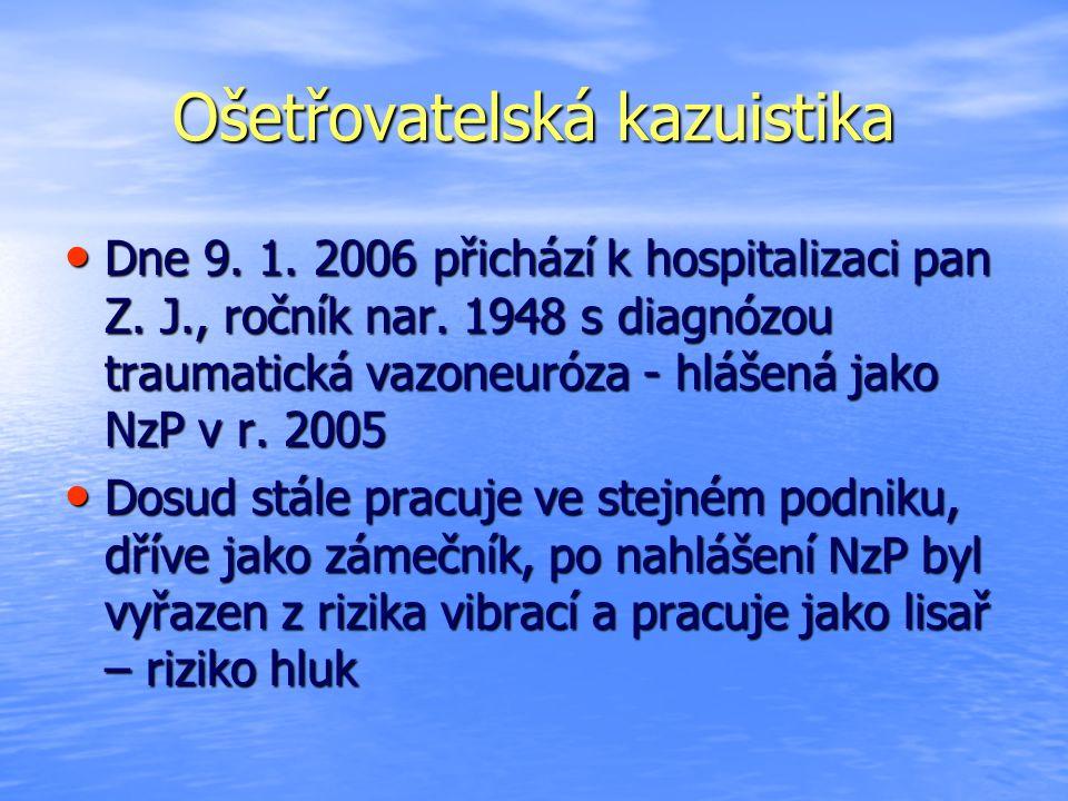 Ošetřovatelská kazuistika Dne 9. 1. 2006 přichází k hospitalizaci pan Z. J., ročník nar. 1948 s diagnózou traumatická vazoneuróza - hlášená jako NzP v