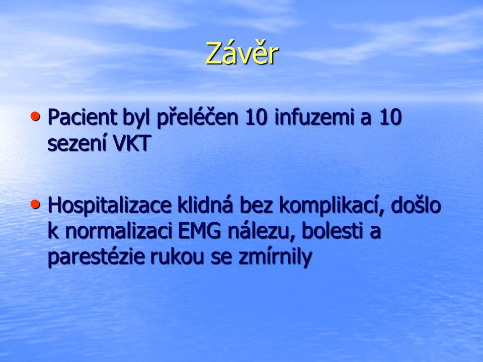 Závěr Pacient byl přeléčen 10 infuzemi a 10 sezení VKT Pacient byl přeléčen 10 infuzemi a 10 sezení VKT Hospitalizace klidná bez komplikací, došlo k normalizaci EMG nálezu, bolesti a parestézie rukou se zmírnily Hospitalizace klidná bez komplikací, došlo k normalizaci EMG nálezu, bolesti a parestézie rukou se zmírnily