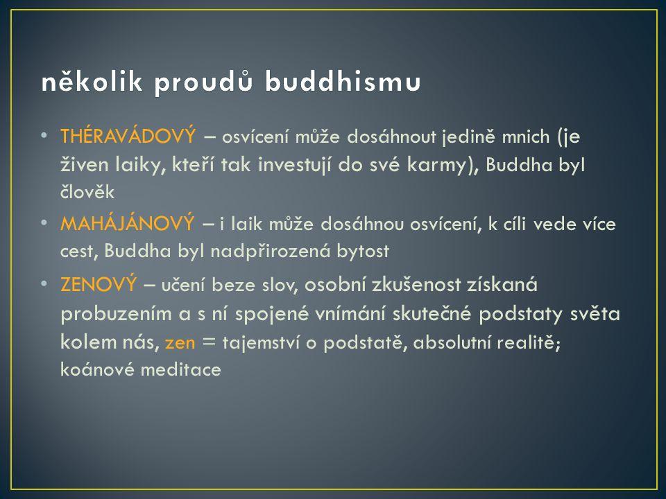 THÉRAVÁDOVÝ – osvícení může dosáhnout jedině mnich (je živen laiky, kteří tak investují do své karmy), Buddha byl člověk MAHÁJÁNOVÝ – i laik může dosáhnou osvícení, k cíli vede více cest, Buddha byl nadpřirozená bytost ZENOVÝ – učení beze slov, osobní zkušenost získaná probuzením a s ní spojené vnímání skutečné podstaty světa kolem nás, zen = tajemství o podstatě, absolutní realitě; koánové meditace