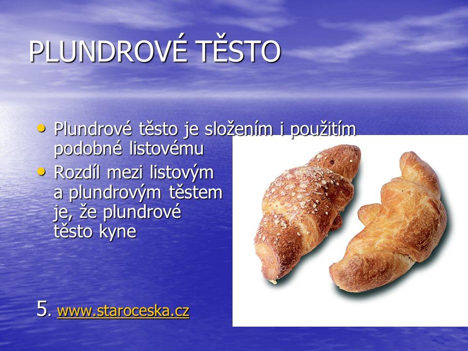 PLUNDROVÉ TĚSTO Plundrové těsto je složením i použitím podobné listovému Plundrové těsto je složením i použitím podobné listovému Rozdíl mezi listovým