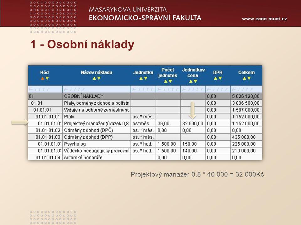 www.econ.muni.cz 1 - Osobní náklady Projektový manažer 0,8 * 40 000 = 32 000Kč