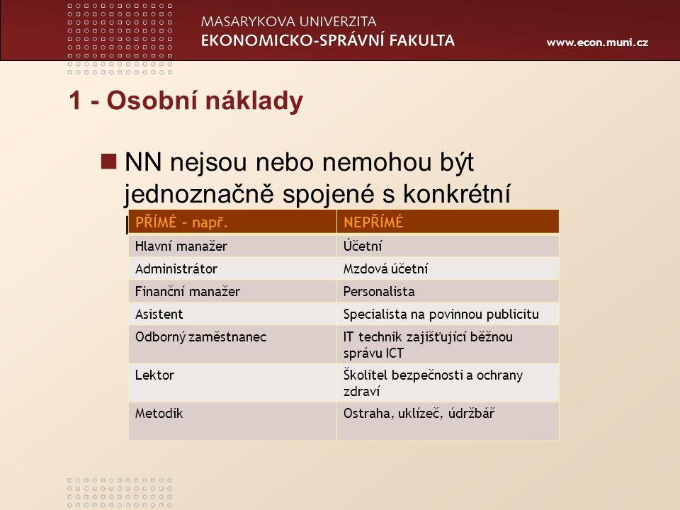 www.econ.muni.cz 1 - Osobní náklady NN nejsou nebo nemohou být jednoznačně spojené s konkrétní klíčovou aktivitou projektu PŘÍMÉ – např.NEPŘÍMÉ Hlavní