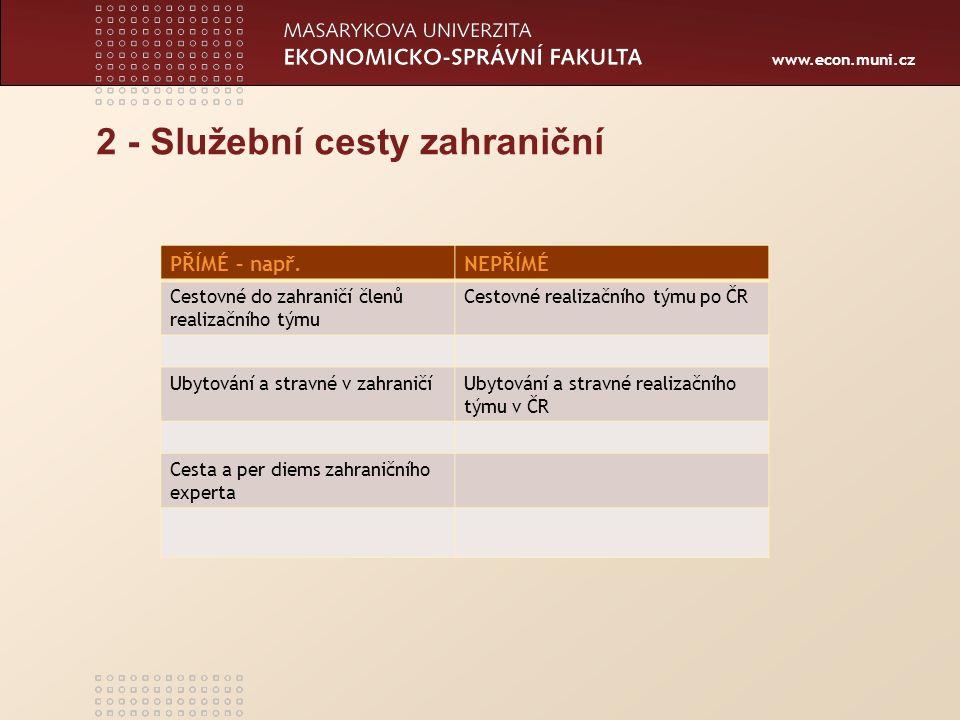 www.econ.muni.cz 2 - Služební cesty zahraniční PŘÍMÉ – např.NEPŘÍMÉ Cestovné do zahraničí členů realizačního týmu Cestovné realizačního týmu po ČR Uby
