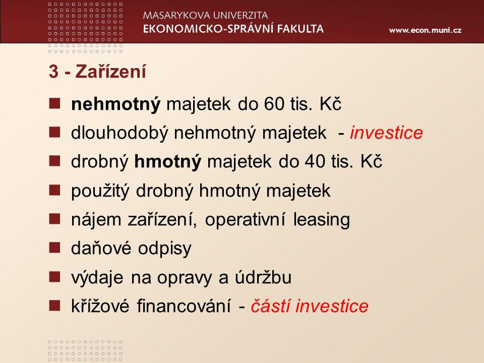 www.econ.muni.cz 3 - Zařízení nehmotný majetek do 60 tis. Kč dlouhodobý nehmotný majetek- investice drobný hmotný majetek do 40 tis. Kč použitý drobný