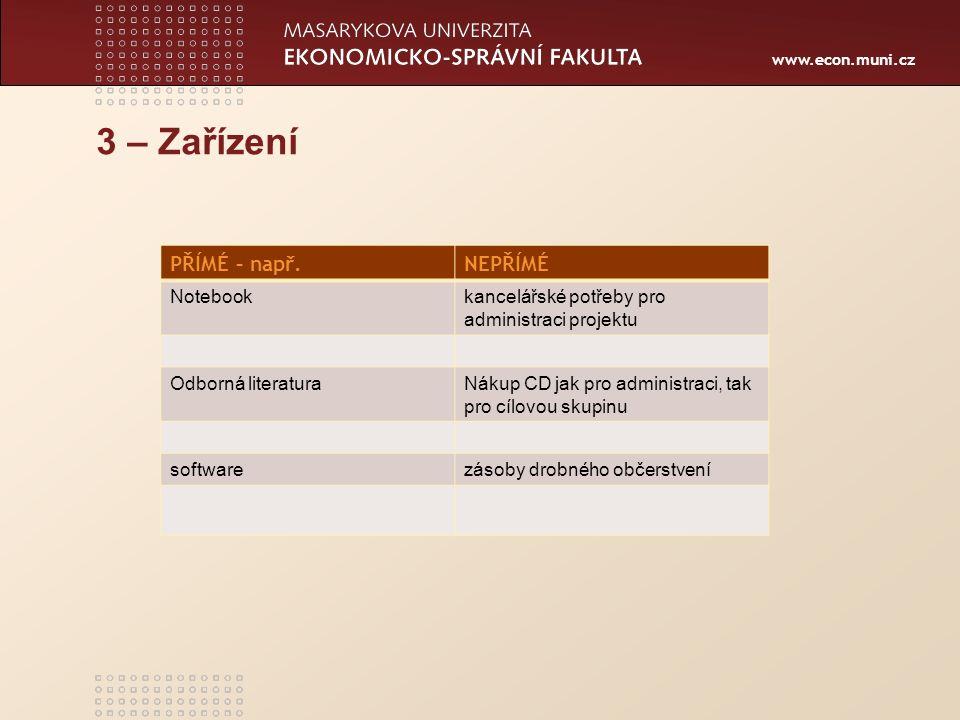 www.econ.muni.cz 3 – Zařízení PŘÍMÉ – např.NEPŘÍMÉ Notebookkancelářské potřeby pro administraci projektu Odborná literaturaNákup CD jak pro administraci, tak pro cílovou skupinu softwarezásoby drobného občerstvení