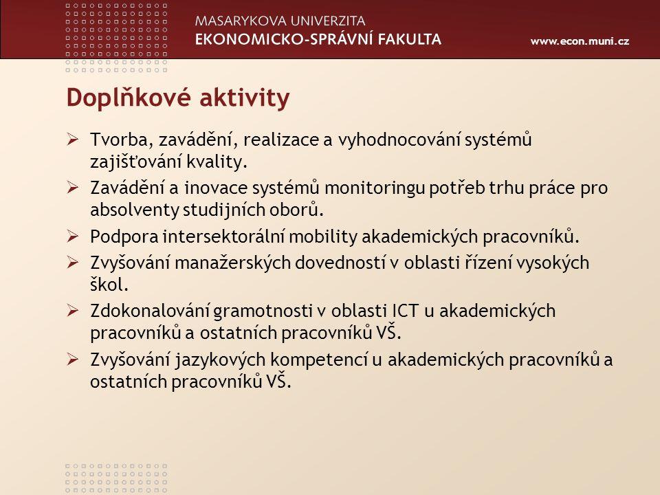 www.econ.muni.cz Doplňkové aktivity  Tvorba, zavádění, realizace a vyhodnocování systémů zajišťování kvality.  Zavádění a inovace systémů monitoring