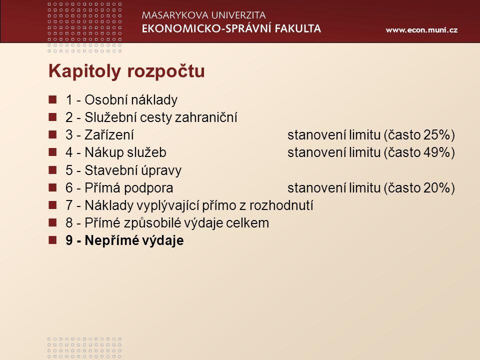 www.econ.muni.cz Kapitoly rozpočtu 1 - Osobní náklady 2 - Služební cesty zahraniční 3 - Zařízenístanovení limitu (často 25%) 4 - Nákup služebstanovení