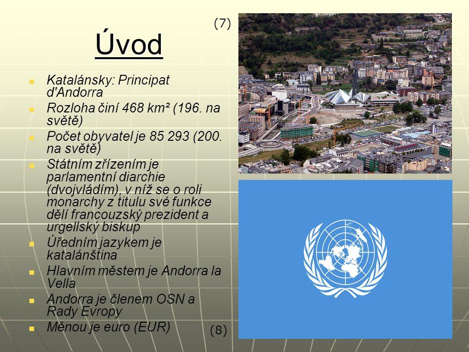 Úvod Katalánsky: Principat d'Andorra Rozloha činí 468 km² (196. na světě) Počet obyvatel je 85 293 (200. na světě) Státním zřízením je parlamentní dia