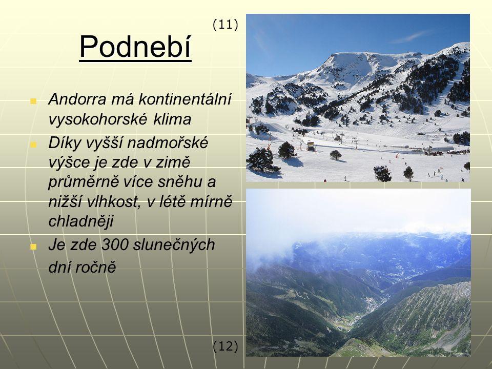 Podnebí Andorra má kontinentální vysokohorské klima Díky vyšší nadmořské výšce je zde v zimě průměrně více sněhu a nižší vlhkost, v létě mírně chladně