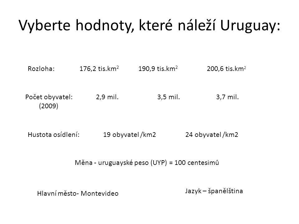 Vyberte hodnoty, které náleží Uruguay: Rozloha:176,2 tis.km 2 190,9 tis.km 2 200,6 tis.km 2 Počet obyvatel: (2009) 3,5 mil.2,9 mil.3,7 mil. Hustota os