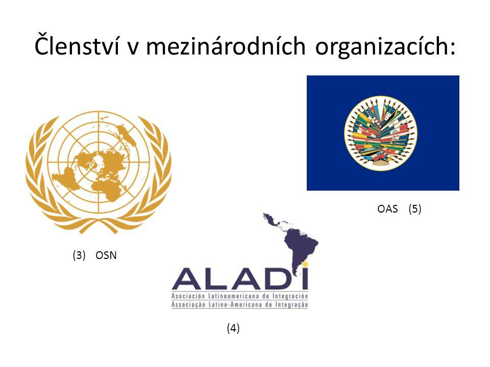 Členství v mezinárodních organizacích: OSN OAS (3) (4) (5)
