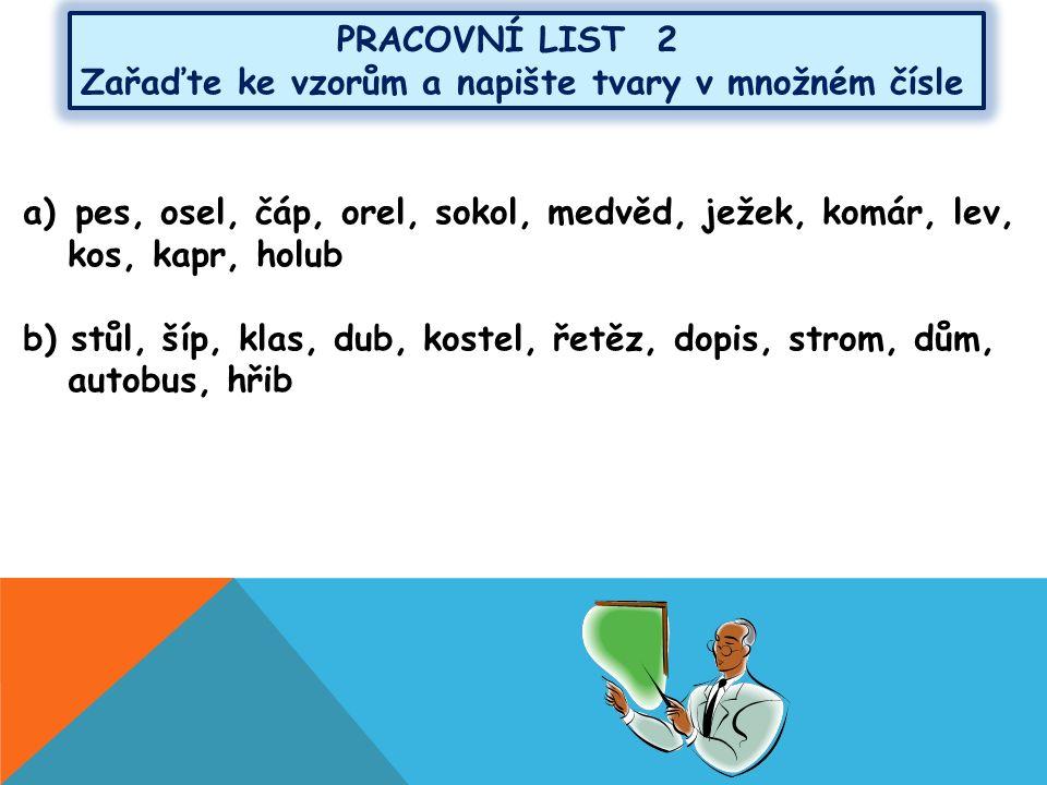 PRACOVNÍ LIST 3 a)Doplňte správné tvary: Pohádka o (listonoš).