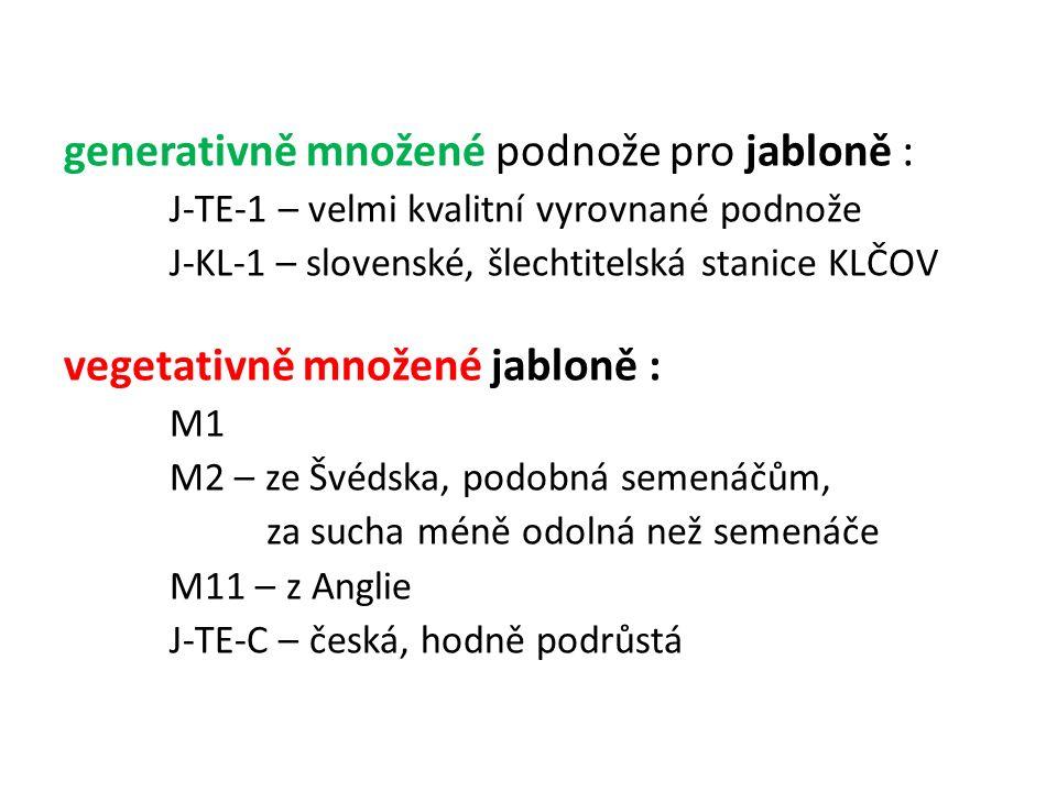 generativně množené podnože pro jabloně : J-TE-1 – velmi kvalitní vyrovnané podnože J-KL-1 – slovenské, šlechtitelská stanice KLČOV vegetativně množené jabloně : M1 M2 – ze Švédska, podobná semenáčům, za sucha méně odolná než semenáče M11 – z Anglie J-TE-C – česká, hodně podrůstá