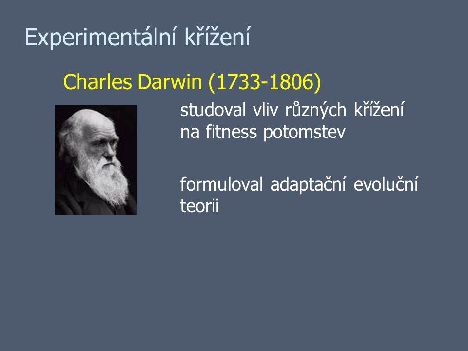 Charles Darwin (1733-1806) studoval vliv různých křížení na fitness potomstev formuloval adaptační evoluční teorii