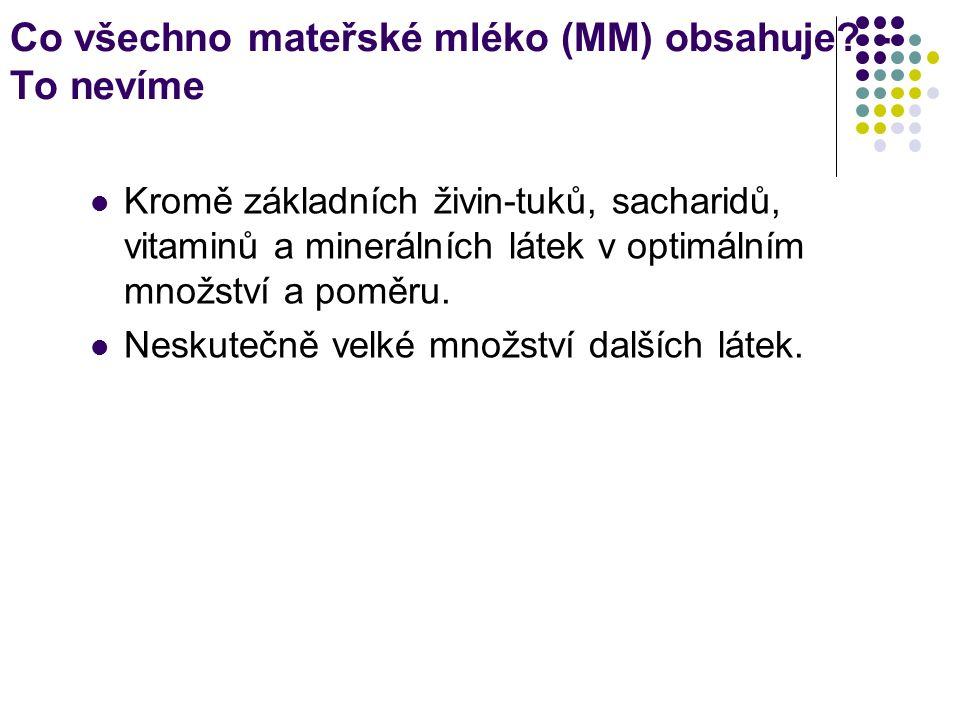 Co všechno mateřské mléko (MM) obsahuje.