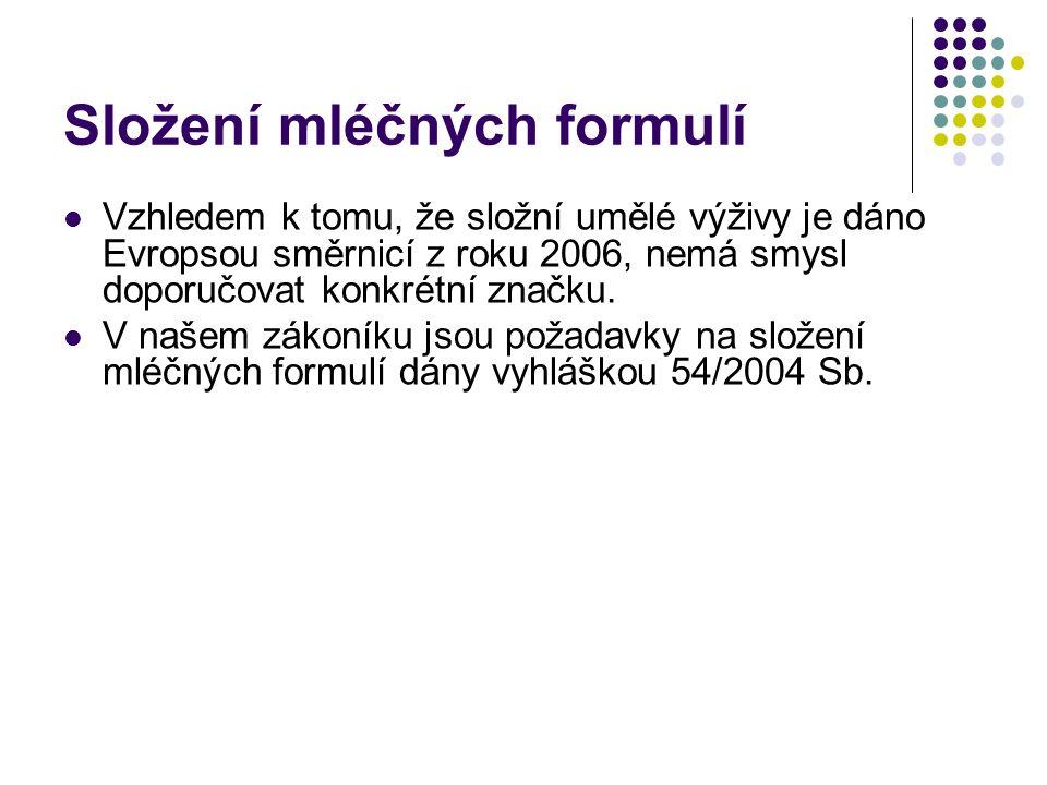 Složení mléčných formulí Vzhledem k tomu, že složní umělé výživy je dáno Evropsou směrnicí z roku 2006, nemá smysl doporučovat konkrétní značku. V naš