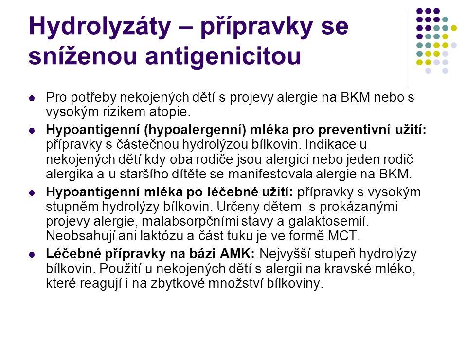 Hydrolyzáty – přípravky se sníženou antigenicitou Pro potřeby nekojených dětí s projevy alergie na BKM nebo s vysokým rizikem atopie. Hypoantigenní (h