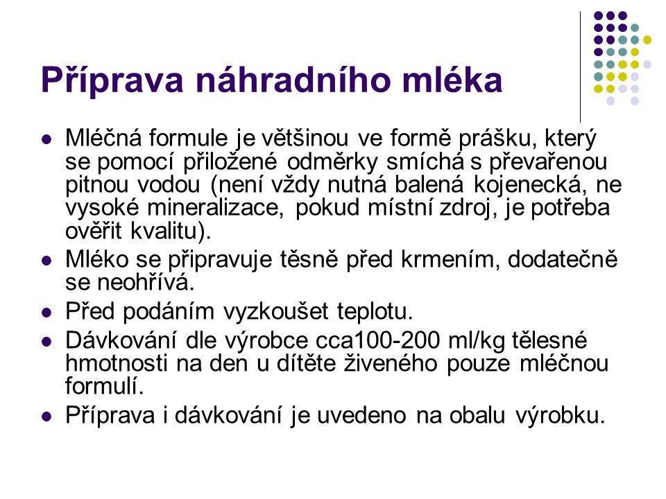 Příprava náhradního mléka Mléčná formule je většinou ve formě prášku, který se pomocí přiložené odměrky smíchá s převařenou pitnou vodou (není vždy nutná balená kojenecká, ne vysoké mineralizace, pokud místní zdroj, je potřeba ověřit kvalitu).