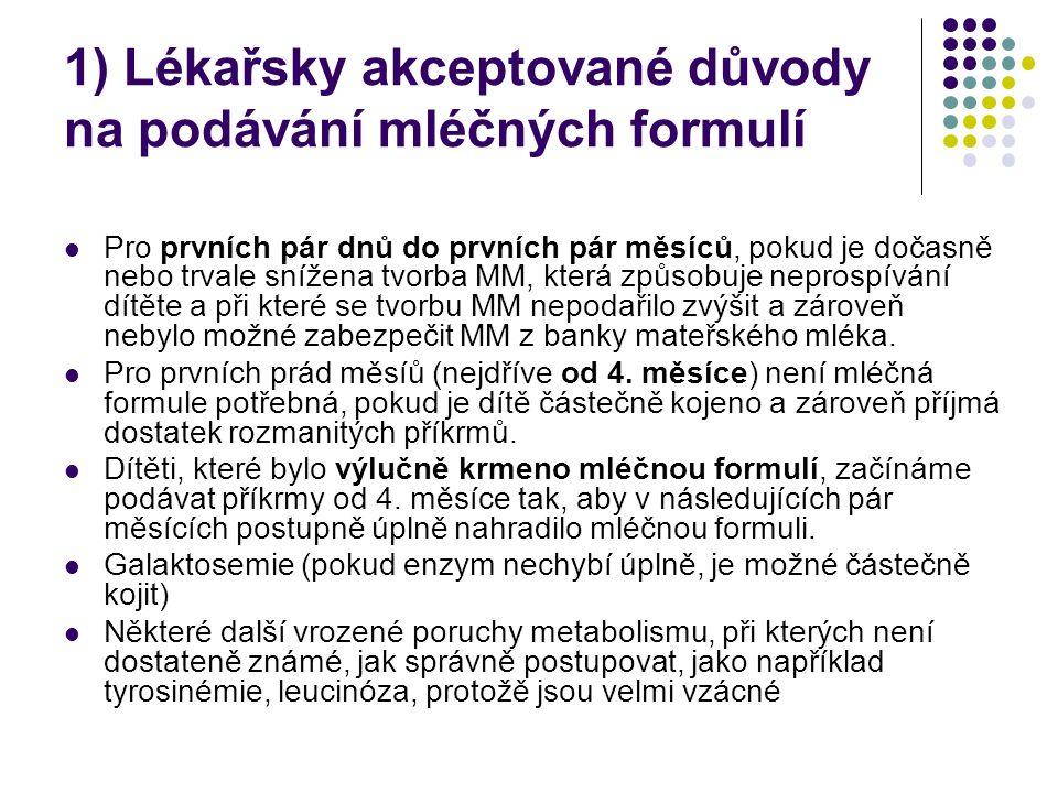 1) Lékařsky akceptované důvody na podávání mléčných formulí Pro prvních pár dnů do prvních pár měsíců, pokud je dočasně nebo trvale snížena tvorba MM,
