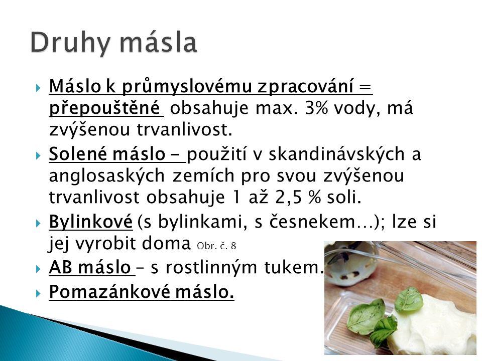  Máslo k průmyslovému zpracování = přepouštěné obsahuje max. 3% vody, má zvýšenou trvanlivost.  Solené máslo - použití v skandinávských a anglosaský