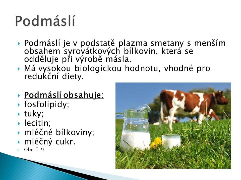  Podmáslí je v podstatě plazma smetany s menším obsahem syrovátkových bílkovin, která se odděluje při výrobě másla.