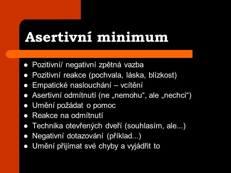 """Asertivní minimum Pozitivní/ negativní zpětná vazba Pozitivní reakce (pochvala, láska, blízkost) Empatické naslouchání – vcítění Asertivní odmítnutí (ne """"nemohu , ale """"nechci ) Umění požádat o pomoc Reakce na odmítnutí Technika otevřených dveří (souhlasím, ale...) Negativní dotazování (příklad...) Umění přijímat své chyby a vyjádřit to"""