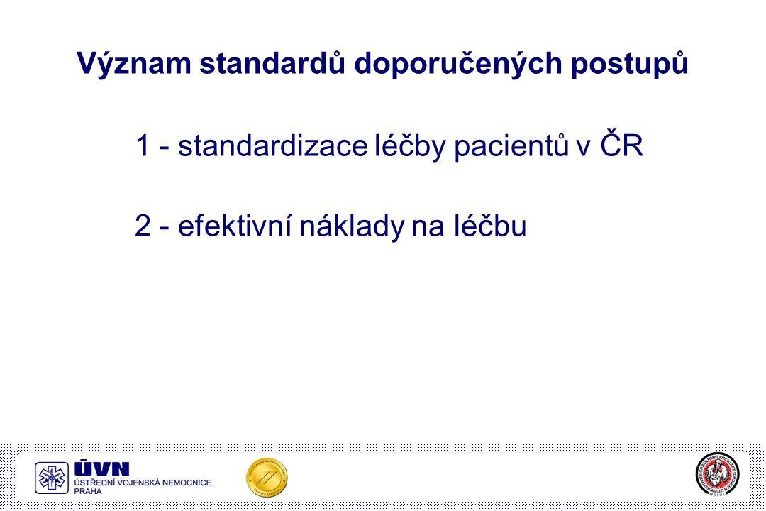 Význam standardů doporučených postupů 1 - standardizace léčby pacientů v ČR 2 - efektivní náklady na léčbu
