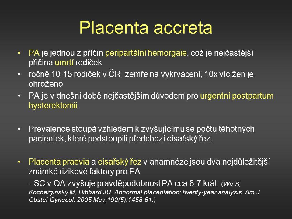 Placenta accreta PA je jednou z příčin peripartální hemorgaie, což je nejčastější přičina umrtí rodiček ročně 10-15 rodiček v ČR zemře na vykrvácení, 10x víc žen je ohroženo PA je v dnešní době nejčastějším důvodem pro urgentní postpartum hysterektomii.