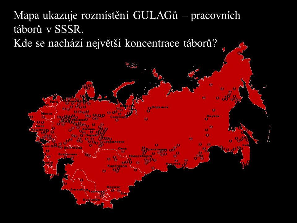 Mapa ukazuje rozmístění GULAGů – pracovních táborů v SSSR.