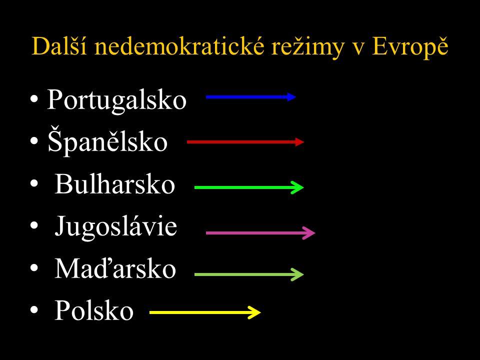 Další nedemokratické režimy v Evropě Portugalsko Španělsko Bulharsko Jugoslávie Maďarsko Polsko