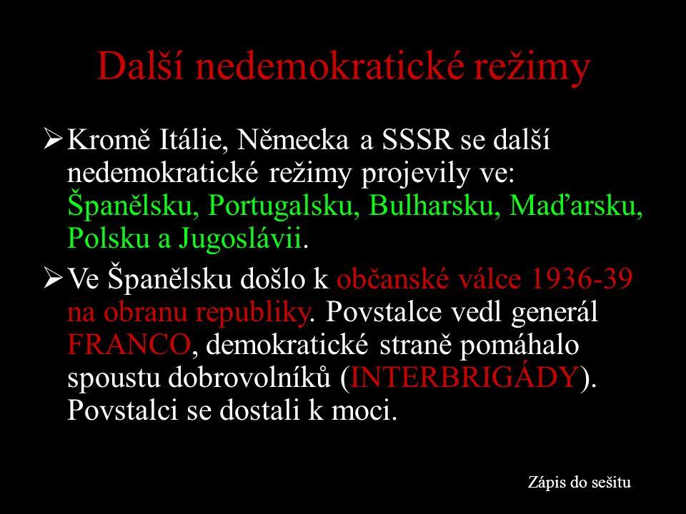 Další nedemokratické režimy  Kromě Itálie, Německa a SSSR se další nedemokratické režimy projevily ve: Španělsku, Portugalsku, Bulharsku, Maďarsku, Polsku a Jugoslávii.