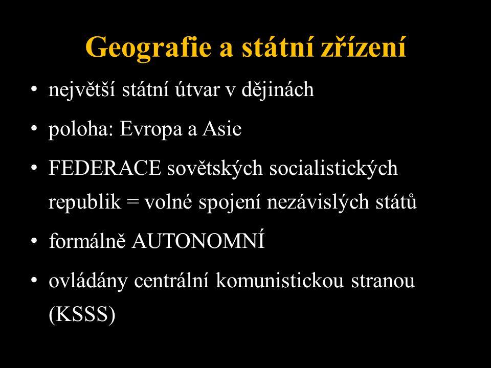 Geografie a státní zřízení největší státní útvar v dějinách poloha: Evropa a Asie FEDERACE sovětských socialistických republik = volné spojení nezávislých států formálně AUTONOMNÍ ovládány centrální komunistickou stranou (KSSS)