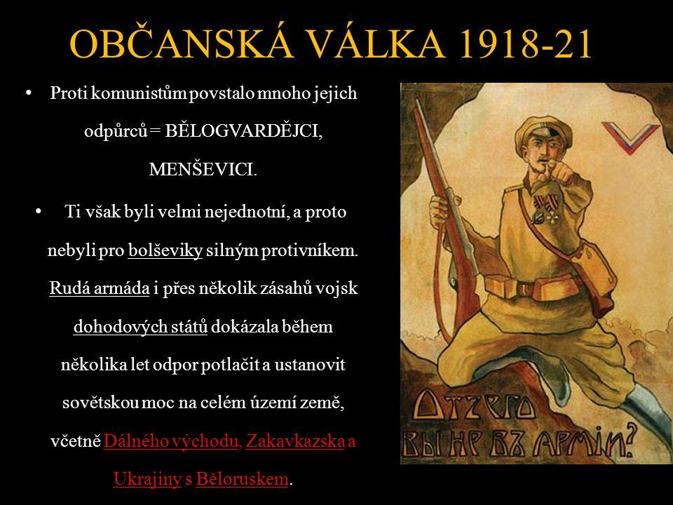 OBČANSKÁ VÁLKA 1918-21 Proti komunistům povstalo mnoho jejich odpůrců = BĚLOGVARDĚJCI, MENŠEVICI.