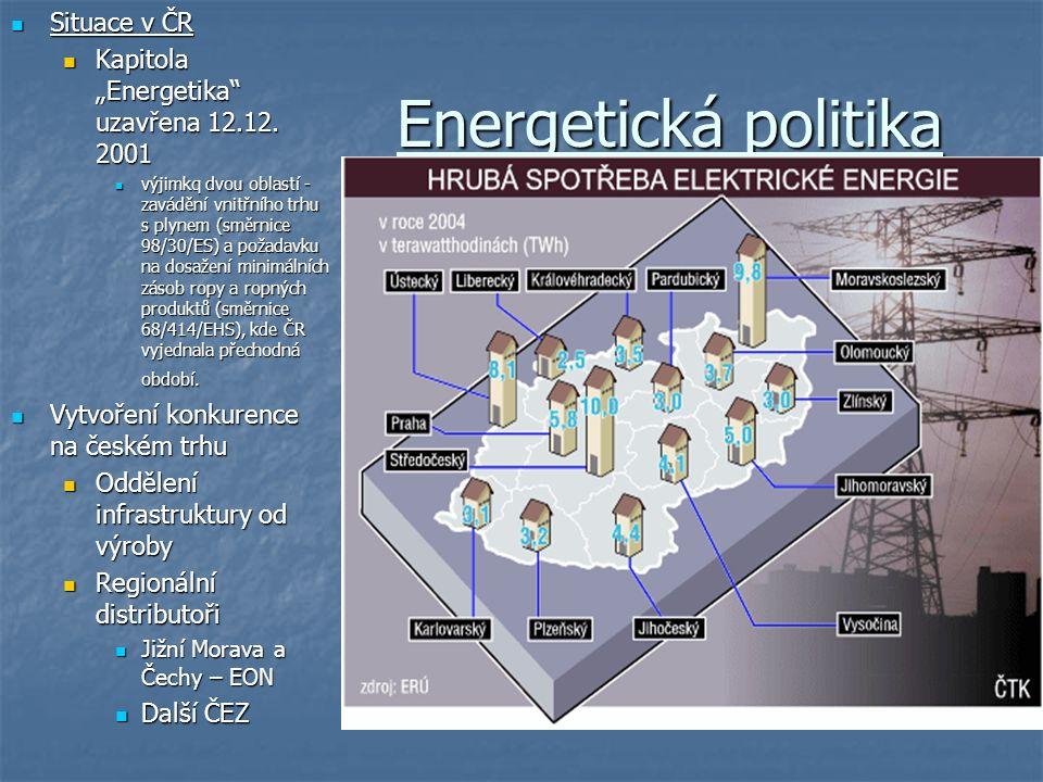 """Situace v ČR Situace v ČR Kapitola """"Energetika"""" uzavřena 12.12. 2001 Kapitola """"Energetika"""" uzavřena 12.12. 2001 výjimkq dvou oblastí - zavádění vnitřn"""