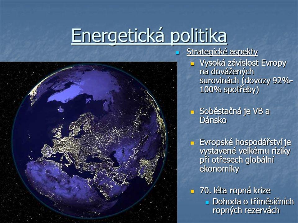 Energetická politika Strategické aspekty Strategické aspekty Vysoká závislost Evropy na dovážených surovinách (dovozy 92%- 100% spotřeby) Soběstačná je VB a Dánsko Evropské hospodářství je vystavené velkému riziky při otřesech globální ekonomiky 70.