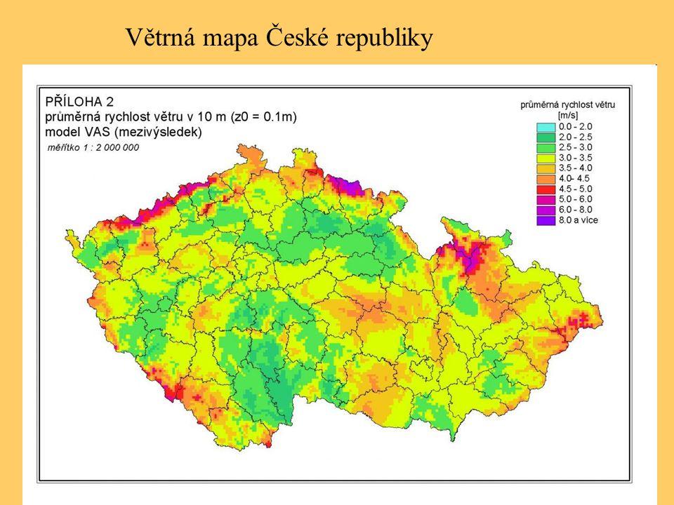 Větrná mapa České republiky
